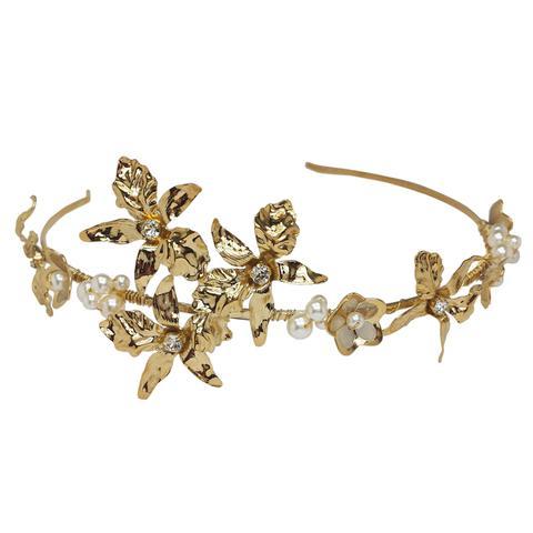 Diadema mireasa perle Swarovski Bright Gold [0]