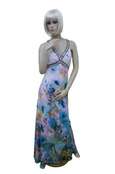 Rochie Faviana 2837 inflorata lunga de seara in clos din satin 0