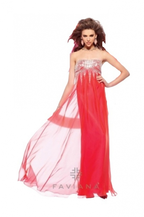Rochie Faviana 7109 roz lunga de seara in clos din voal [0]