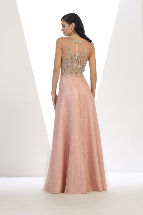 Rochie France Mode M1293 roz lunga de seara in clos din dantela 2