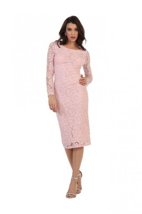 Rochie France Mode M1441 roz midi de ocazie mulata din dantela 0