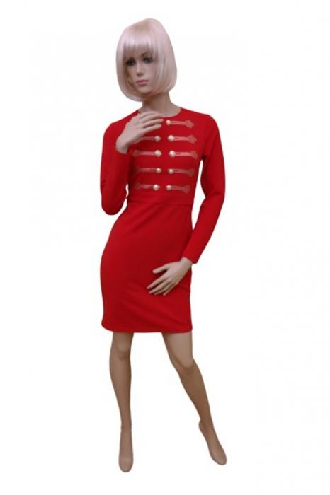 Rochie France Mode M5123 rosie scurta de ocazie mulata din crepe 0