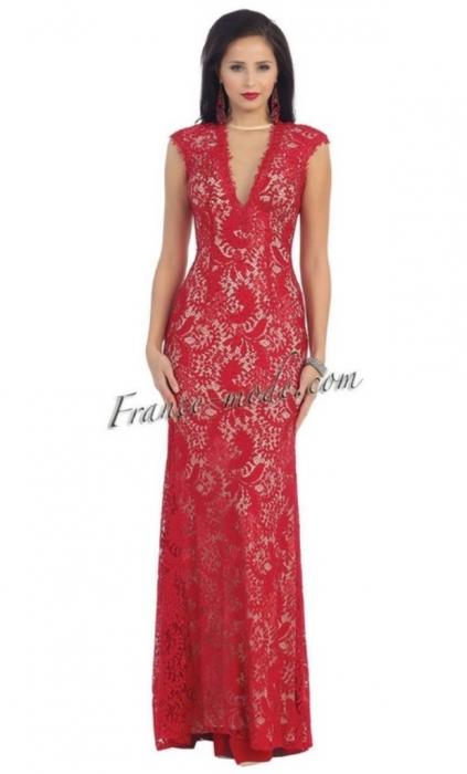 Rochie France Mode M7175 rosie lunga de seara mulata din dantela [0]