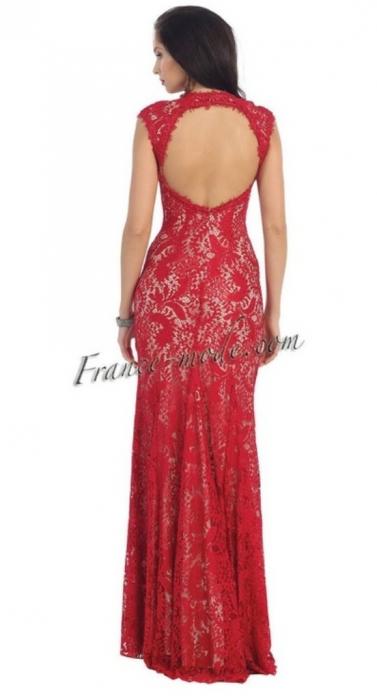 Rochie France Mode M7175 rosie lunga de seara mulata din dantela [1]