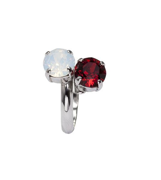 Inel cristale Swarovski 7028 Opal & Siam 0