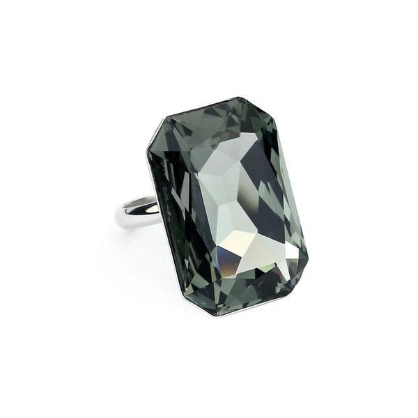 Inel cristale Swarovski Octagon Black Diamond 0