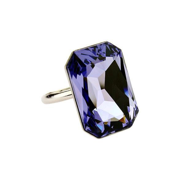 Inel cristale Swarovski Octagon Tanzanite 0