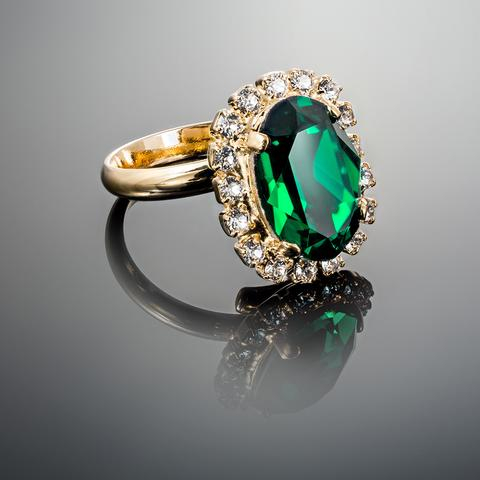 Inel cristale Swarovski Vivian Emerald Golden 0