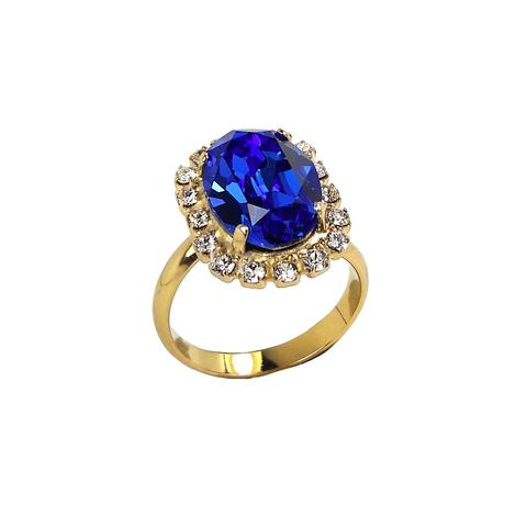 Inel cristale Swarovski Vivian Saphire Golden 0