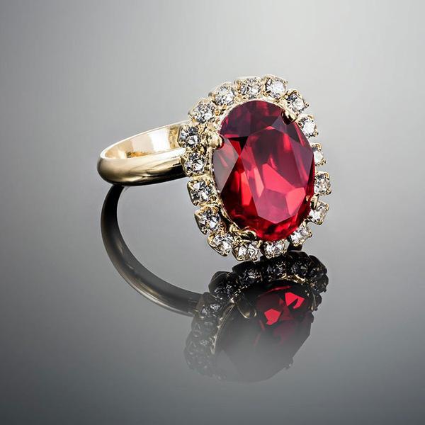 Inel cristale Swarovski Vivian Siam Golden 1