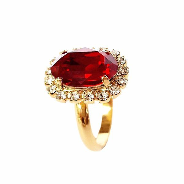 Inel cristale Swarovski Vivian Siam Golden 0