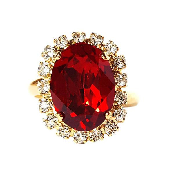 Inel cristale Swarovski Vivian Siam Golden 2