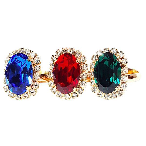 Inel cristale Swarovski Vivian Siam Golden 4