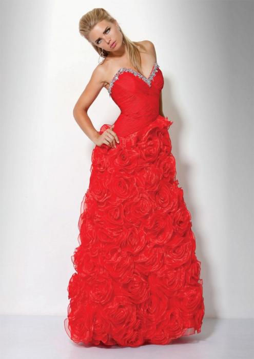 Rochie Jovani 17458 rosie lunga de seara tip A-line din organza 1