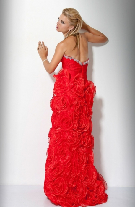 Rochie Jovani 17458 rosie lunga de seara tip A-line din organza 2