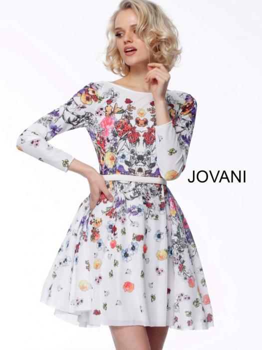 Rochie Jovani 65967 inflorata scurta de ocazie baby doll din tulle 1