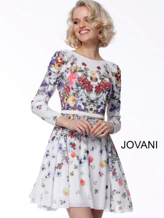 Rochie Jovani 65967 inflorata scurta de ocazie baby doll din tulle 2