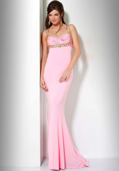 Rochie Jovani 85131 roz lunga de seara mulata din jerse 1