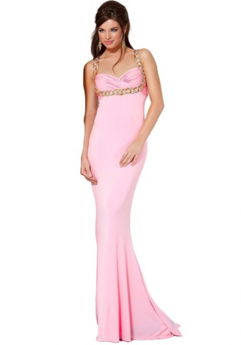 Rochie Jovani 85131 roz lunga de seara mulata din jerse 0