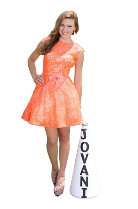 Rochie Jovani 91338 galbena de ocazie scurta baby doll din dantela 0