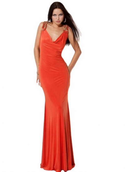 Rochie Jovani 9151 portocalie lunga de seara mulata din jerse [0]