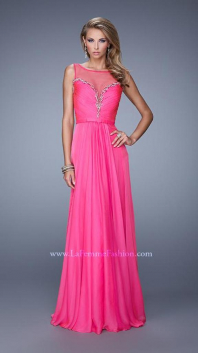 Rochie La Femme Fashion 20956 fuchsia lunga de seara in clos din voal 1