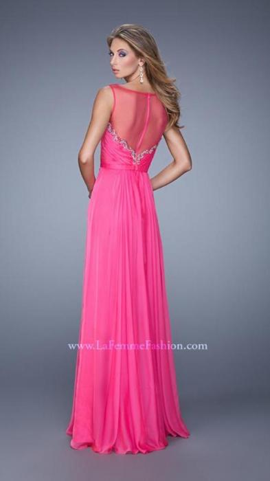 Rochie La Femme Fashion 20956 fuchsia lunga de seara in clos din voal 2