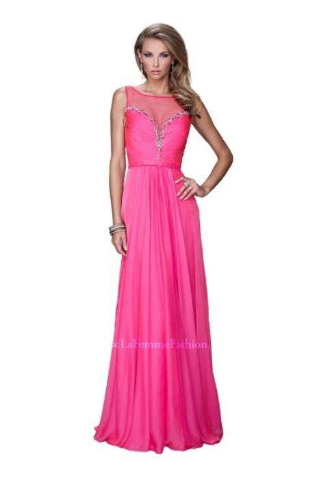 Rochie La Femme Fashion 20956 fuchsia lunga de seara in clos din voal 0