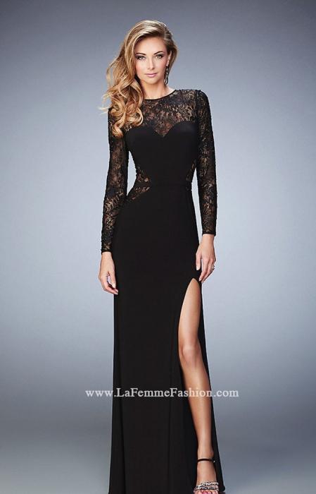 Rochie La Femme Fashion 22281 neagra lunga de seara mulata din jerse 1