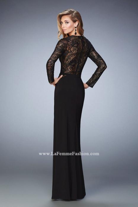 Rochie La Femme Fashion 22281 neagra lunga de seara mulata din jerse 2