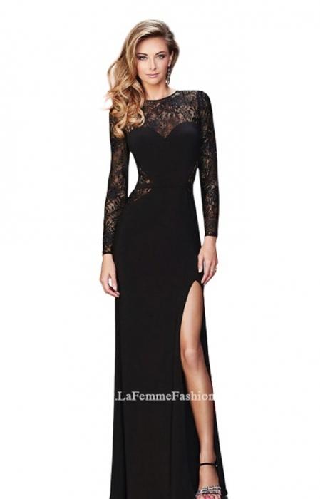Rochie La Femme Fashion 22281 neagra lunga de seara mulata din jerse 0