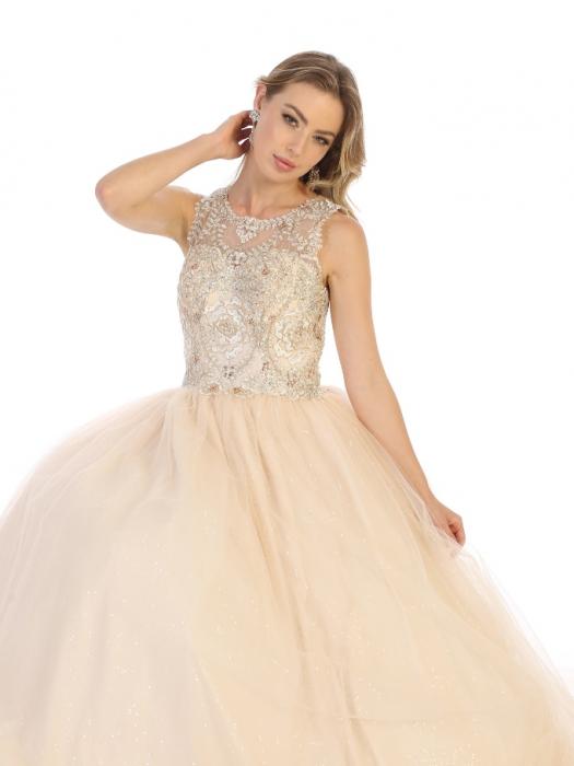 Rochie France Mode M137 bej lunga de seara princess 1