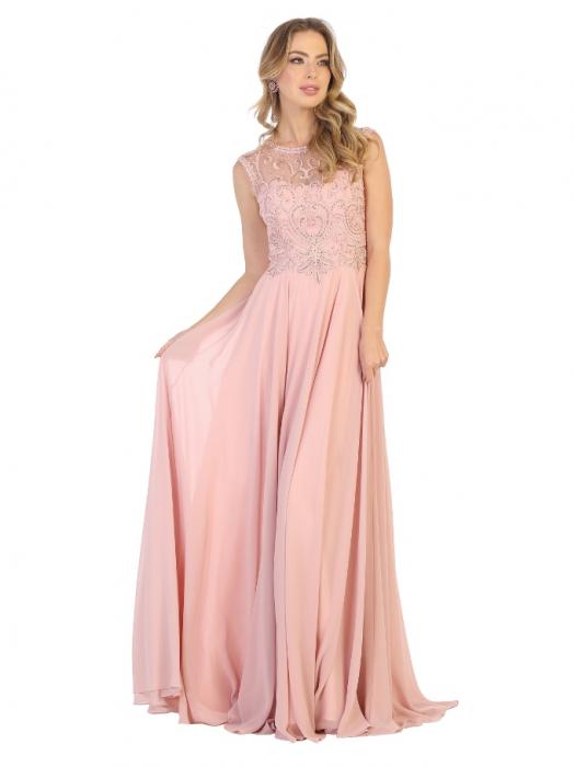 Rochie France Mode M1707 roz lunga de seara clos 0