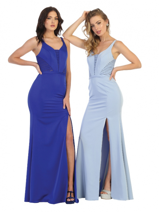 Rochie France Mode M1708 bleu lunga de seara mulata [3]