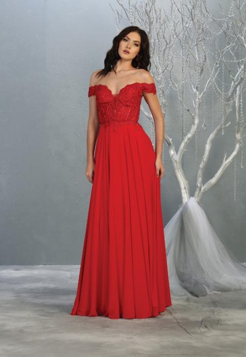 Rochie France Mode M1714 rosie lunga de seara clos 0