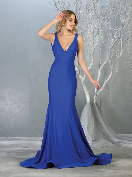Rochie France Mode M1719 albastra lunga de seara sirena 0