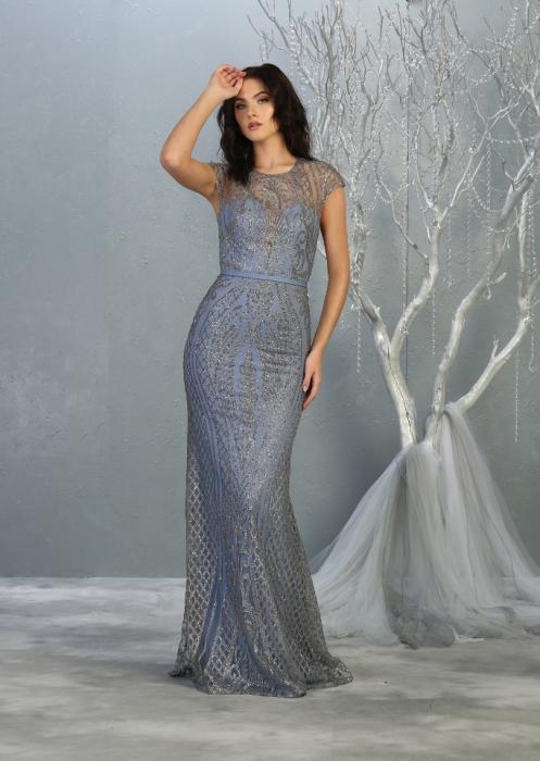 Rochie France Mode M1722 bleu lunga de seara mulata 0