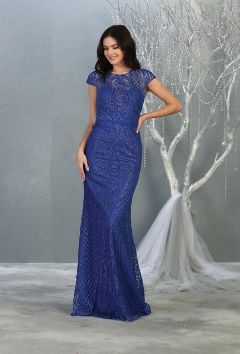 Rochie France Mode M1722 albastra lunga de seara mulata 0