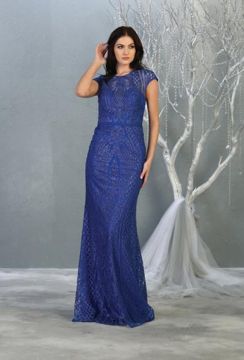 Rochie France Mode M1722 albastra lunga de seara mulata 1