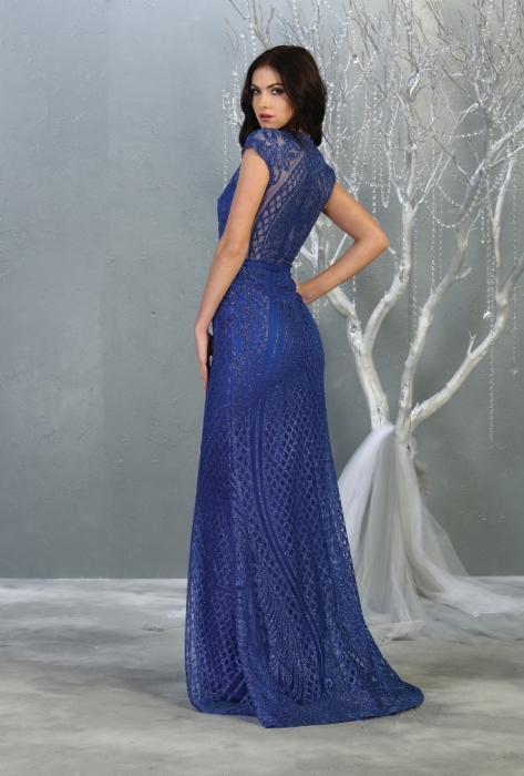 Rochie France Mode M1722 albastra lunga de seara mulata 2