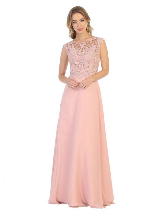 Rochie France Mode M1725 roz lunga de seara clos 0
