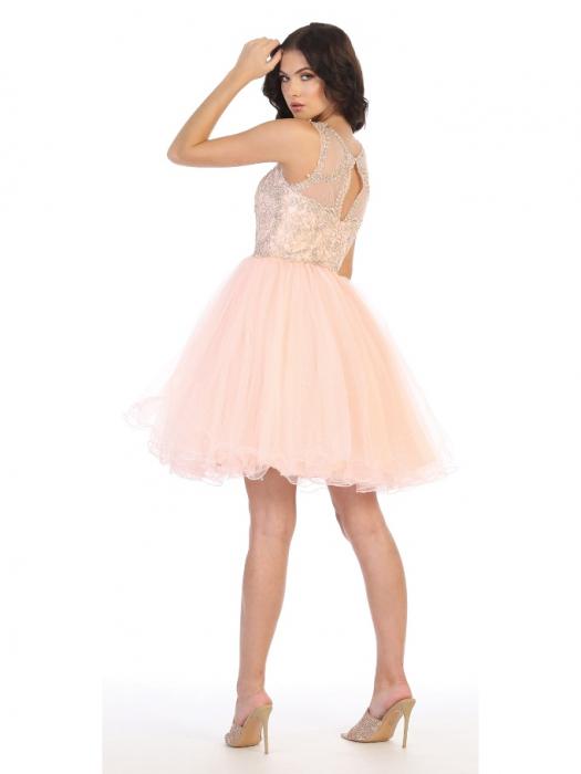Rochie France Mode M1726 roz scurta de ocazie baby doll 1