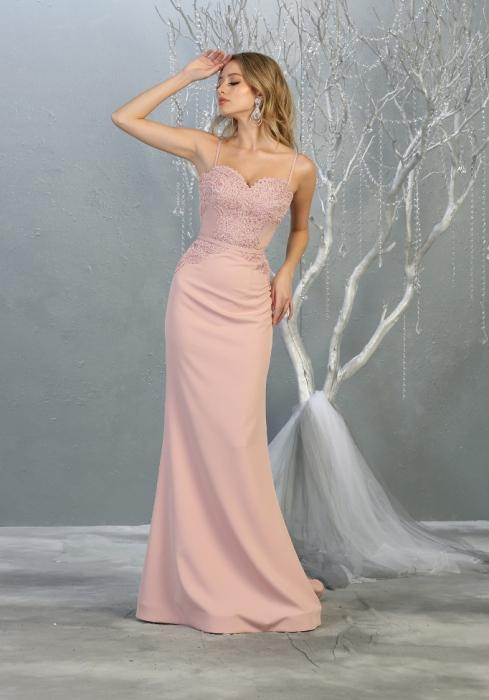 Rochie France Mode M1759 roz lunga de seara sirena 0