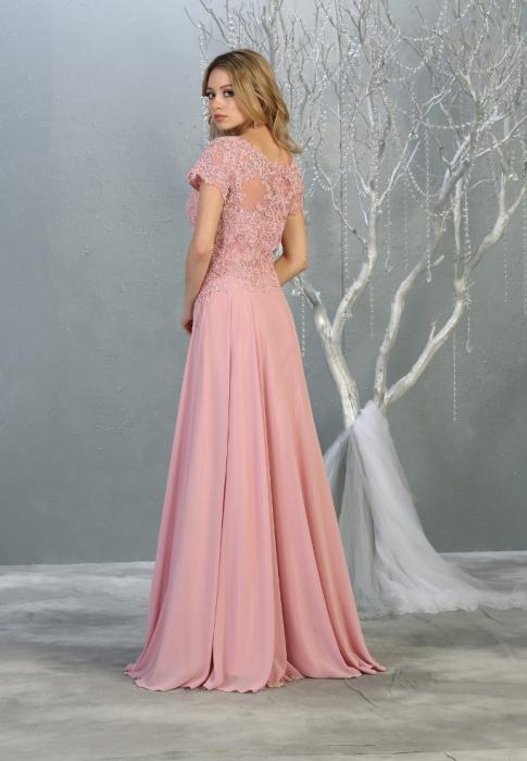 Rochie France Mode M1763 roz lunga de seara clos [1]