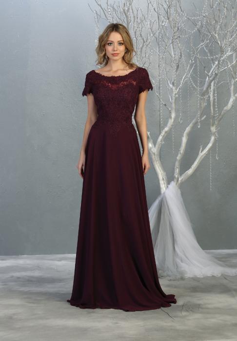 Rochie France Mode M1763 violet lunga de seara clos 1