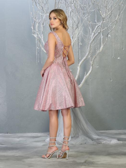 Rochie France Mode M1774 roz scurta de ocazie baby doll 2