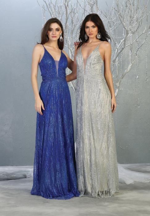 Rochie France Mode M1780 albastra lunga de seara clos 2