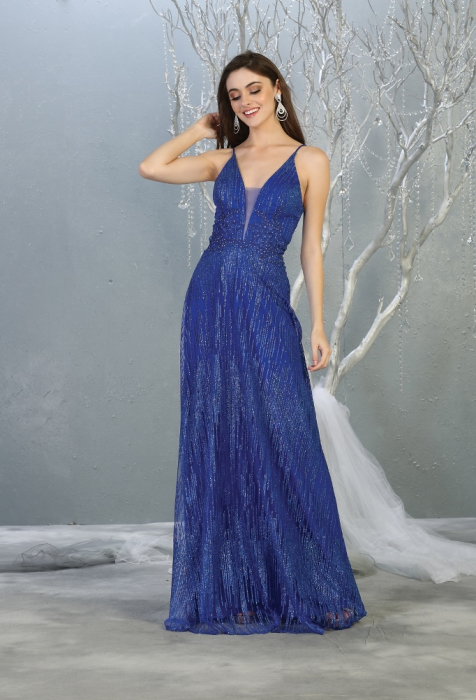 Rochie France Mode M1780 albastra lunga de seara clos 0