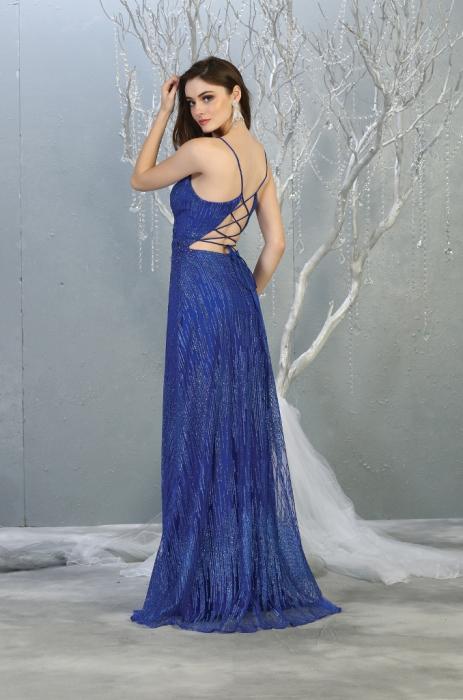 Rochie France Mode M1780 albastra lunga de seara clos 1