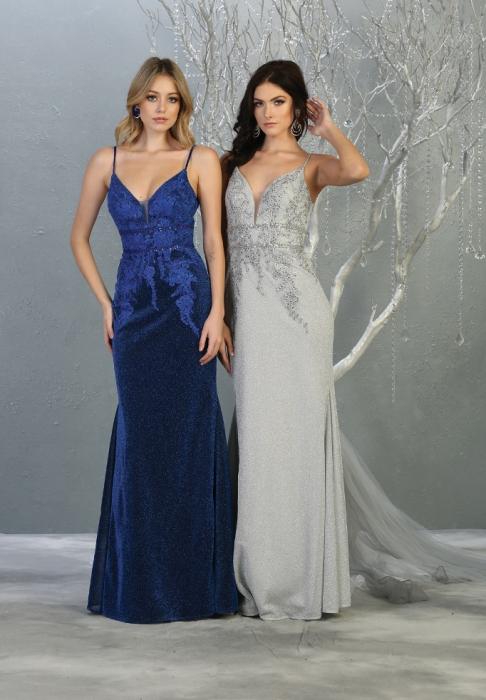 Rochie France Mode M1796 albastra lunga de seara sirena [3]